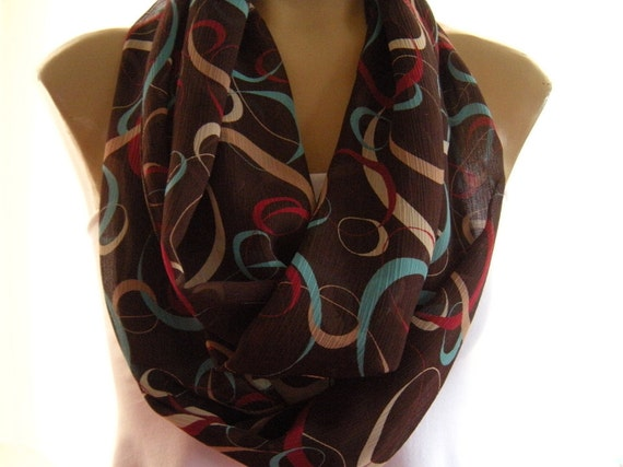 Chocolate Delight...with Minty Blue, Raspberry and Caramel....Necklace Scarf......Chiffon.......Euro Chic...