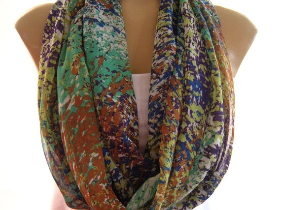 Summer Rain...Greens, Cobalt,Rust and Purple....Necklace Scarf......Chiffon.......Euro Chic...