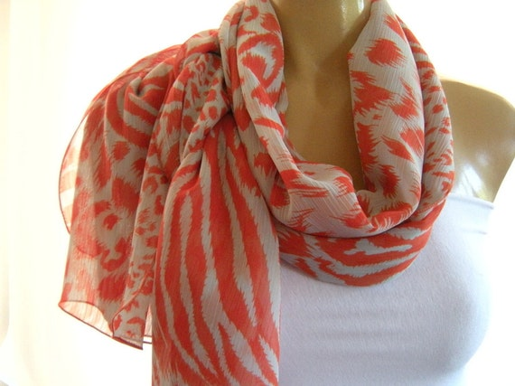 Palest blue and Coral....Parisian Neck Tissu....Perfect Summer scarf...Extra Long