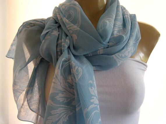 Last One  Lake Blue and white Scroll patterned long chiffon scarf -Parisian Neck Tissu.