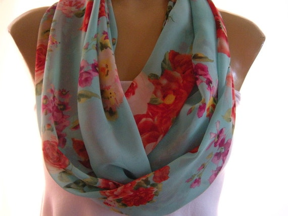 Gorgeous Roses on aqua Sky.......Necklace Scarf..Infinity scarf.....Chiffon....Euro Chic...
