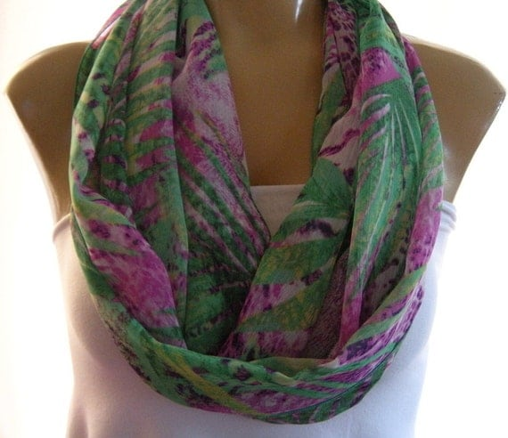 Tropical Jungle....Greens and Purples..Necklace Scarf..Infinity scarf.....Chiffon....Euro Chic...