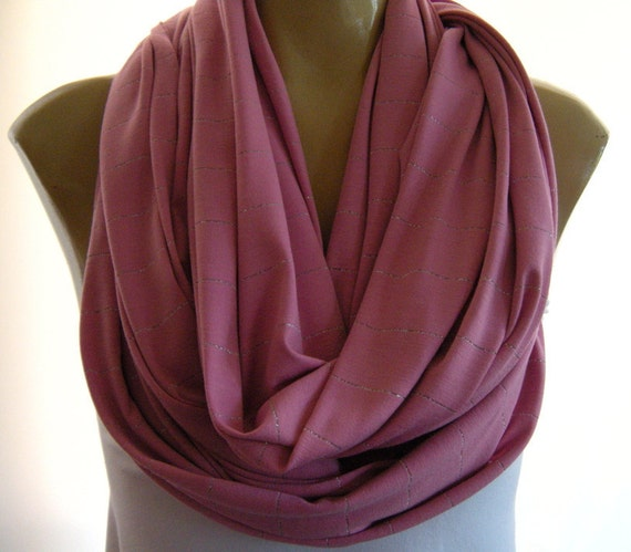 Last One  Beautiful Pink Rose  with silver stripes knit jersey infinity scarf Nomad Cowl