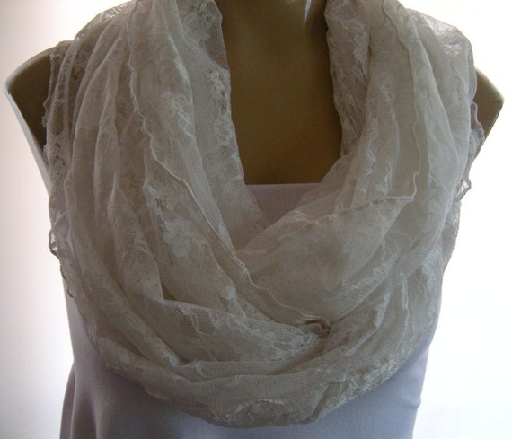 Cream White....Super soft lace...Extra large...Nomad cowl....Infinity Scarf