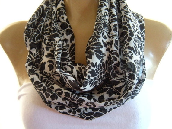 Elegance in black and white ..Necklace Scarf...infinity Scarf...Chiffon....Instant gratification...