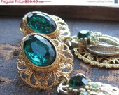 VALENTINES SALE Mistletoe Emerald Green Jewel Tone Earrings - Gold and Green Perfect Holiday Party Earrings