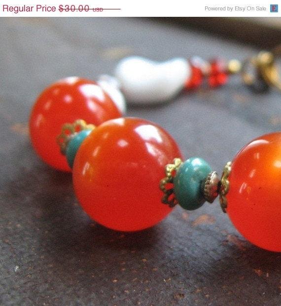 VALENTINES SALE Pumpkin Orange Handmade Bracelet - Vintage Orange Moonglow