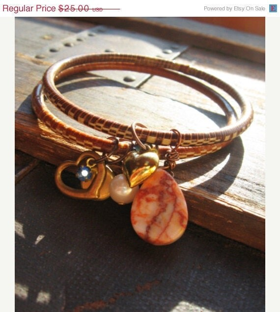 Earth Tone Bangle Bracelets with Charms -  Boho Bangle Bracelets Wire Wrapped with Hearts, Pearls, Stone, and Crystal Cha