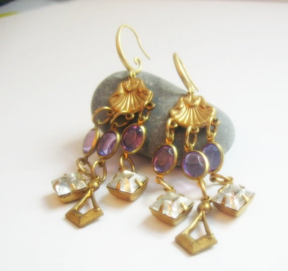 Vintage Brass Scallop Shell and Vintage Amethyst and Clear Crystal Chandelier Dangle Earrings - Mother's Day Gift