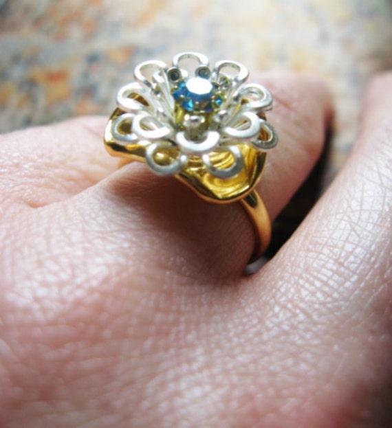 Petite Vintage Silver Flower with Blue Vintage Rhinestone Adjustable Gold Ring