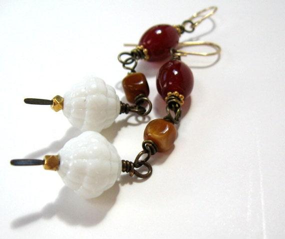 Earth Tone Rustic Boho Beaded Long Dangle Earrings - Autumn Colors