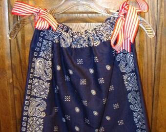 Navy Blue Bandana Dress and Hairbow Set