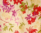 Unpaper Towels with snaps -- pink, red, purple, green and yellow flowers and stems on stain resistant fabric