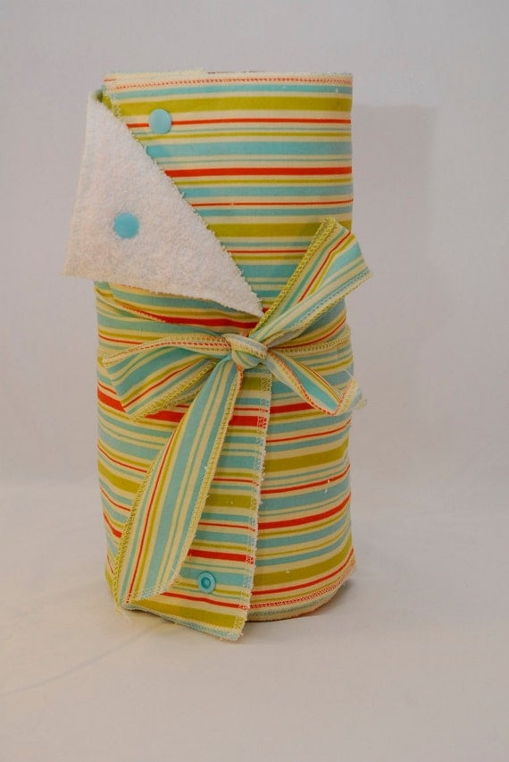 Unpaper Towels with snaps -- green, blue, and red stripes on cotton fabric