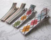Hair Clips -- Everyday Set of 4 -- Preppy Argyle and Stripes