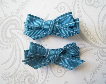 Hair Bow Clips -- Peacock Teal Ruffle