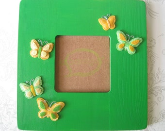 Picture Frame -- Green with Yellow and Green Butterflies -- Nursery