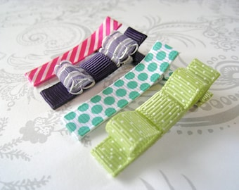 Hair Bow Clips -- Everyday Boutique -- Pink Purple Teal Lime Green