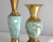 Pair of Antique Gold and Turquoise Vases from Holland
