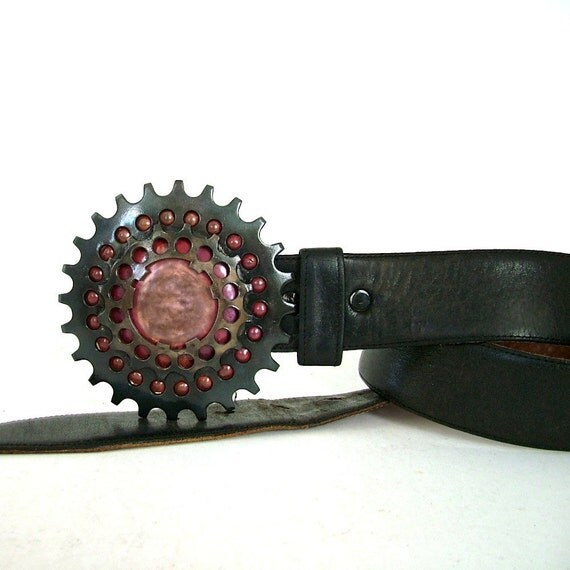 RESERVED for ANNE Double Sprocket Copper Belt Buckle