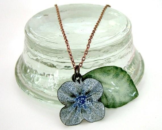 Enameled Steel Necklace: Flower and Leaf
