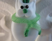 Paddy the Green Winter Holiday and Shamrock Kitty Glass Lampwork Necklace