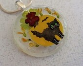 Black Cat, Black Bats, Full Harvest Moon, Oh My-Pressed Flower Halloween Round Glass Pendant with Lantana, Sweet Yellow Clover