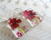Enchanted-Red Verbena and Pink Heather Pressed Flower Glass Rectangle Dangle Earrings-Symbolizes Enchantment, Admiration