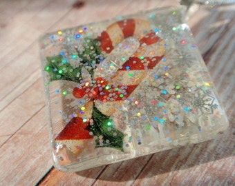 Candy Cane & Holly Pressed Flower Shimmering Square Glass Pendant-Queen Anne's Lace-Symbolizes Peace-Gift Under 30-Nature's Wearable Art