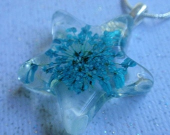 Blue Queen Anne's Lace Small Clear Pressed Flower Clear Resin Star Pendant-Symbolizes Peace-Gifts Under 25-For The Star In Your Life