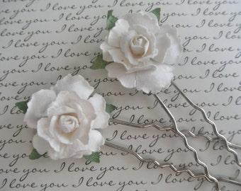White Handmade Rose Victorian Hair Pins-Set of 2-Nature Inspired-Gifts Under 20-Wedding, Bride