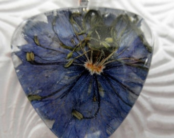 Blue Love In The Mist  Pressed Flower Glass Triangle Pendant-Symbolizes Love and Affection-Nature's Wearable Art-Gifts 25 & Under