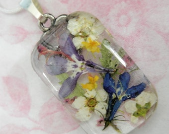 Lobelia, Basket of Gold Alyssum, Bridal Veil Pressed Flower Glass Rectangle Pendant-Symbolizes Loyalty-Nature's Wearable Art-Gifts Under 30