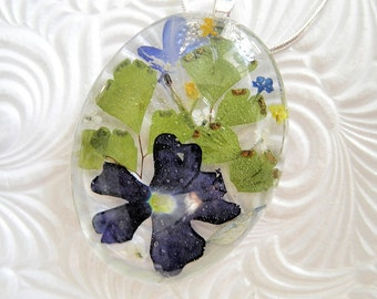 Blue Verbena, Blue Lobelia, Queen Anne's Lace Victorian Pressed Flower Oval Domed Glass Pendant-Gifts For 30-Symbolizes Enchantment, Peace