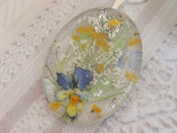 RESERVED For MARIANNA- Summer Pastel Garden In The Meadow-Glass Pressed Flower Pendant with Pansy, Basket of Gold Alyssum,Queen Anne's Lace