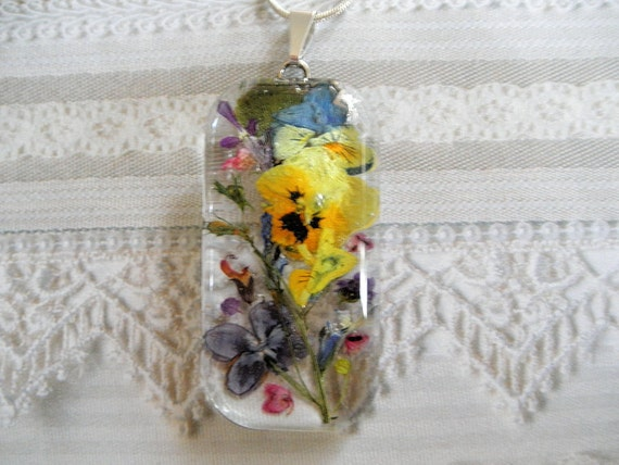 First Spring Garden-Pansies, Lilacs, Heather, Lobelia-Spring Pressed Flower Domed Glass Pendant-Symbolizes First Love, Loyalty, Admiration