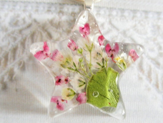 Burst of Color-Sweet Pink Heather, Baby's Breath, Ferns Pressed Flower Jewelry-Resin Star Pendant-For The Star In Your Life