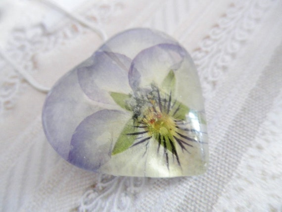 Spring Ombre Lavender and Soft Yellow Coconut Pansy Pressed Flower Glass Heart Pendant-Symbolizes Loyalty