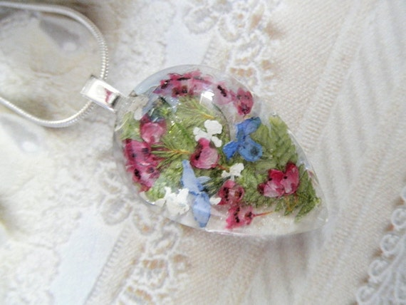 Serene, Peaceful Garden-Blue Forget-Me-Nots, Heather, Queen Anne's Lace Pressed Flower Glass Teardrop Pendant-Symbolizes Memories, True Love