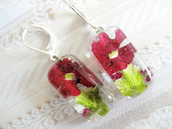 Enchanted-Red Verbena, Maroon Alyssum Atop Frosted Ferns-Pressed Flower Glass Rectangle Dangle Earrings-Symbolizes Enchantment, Admiration