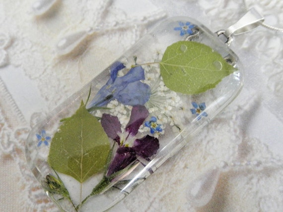 RESERVED FOR LORI-Colorado Summer-Aspen Leaves, Lobelia,Queen Anne's Lace,Forget-Me-Nots Pressed Flower Glass Pendant-Symbolizes Peace
