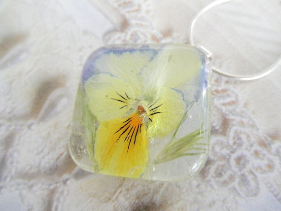 Soft Summer Breeze-Softest Pastel Pansy and Wispy Grasses-Domed Square Pressed Flower Glass Pendant-Symbolizes Loyalty