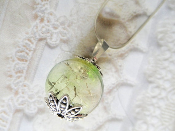 Magical Soft Green Wishing Ball-Wispy Dandelion Seeds Reliquary Orb Pendant-Symbolizes Happiness, Affection, Desire