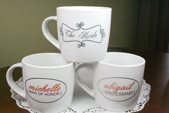 Customized Wedding Coffee Mugs : Wedding Party Personalized Coffee Mugs- 8 Mugs - Your choice of font ...