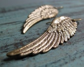 Angel Wing Earrings, Antique Gold Brass Earrings Wings, Victorian Steampunk Earrings - GUARDIAN