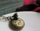 Girls Locket, Flower Necklace Vintage Inspired, Small Round Locket, Antique Gold Brass Necklace - SPROUT