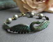 Grace - Swan Cuff Bracelet, Antique Gold Brass, Rustic Green Verdigris Patina, Matte Sage Swarovski Pearls, Vintage