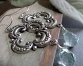 Silver Dangle Earrings, Antique Silver Earrings Blue Teardrop, Vintage Inspired Quatrefoil Earrings - CANTERBURY