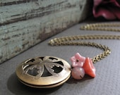 Pink Flower Necklace Filigree Locket,  Round Locket with Pink Flowers, Vintage Brass Long Locket - PEONY