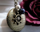 Nautical Locket, Pearls and Ship Wheel Necklace Locket, Navy Blue and White, Antique Brass Locket - STORMY SEAS